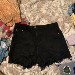 Pants - NWT Black Distressed/Frayed Denim Shorts